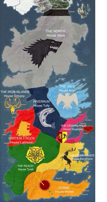 After Aegon's Conquest: The Seven Kingdoms become nine regions, each with an overlord house