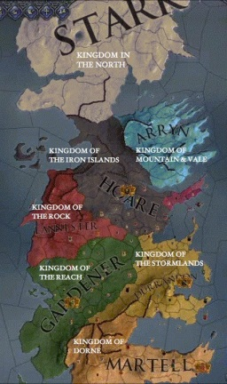 Before Aegon's Conquest: Map of the Seven Kingdoms. Kingdom in the North (House Stark); Kingdom of the Mountain & Vale (House Arryn); Kingdom of the Iron Islands (House Hoare); Kingdom of the Rock (House Lannister); Kingdom of the Reach (House Gardener); Kingdom of Stormlands (House Durrendon); Kingdom of Dorne (House Martell)