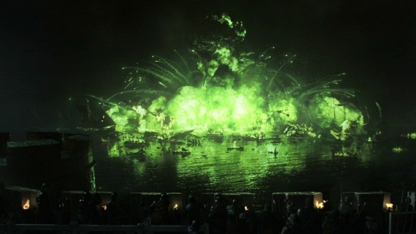 Wildfire engulfs Stannis' fleet in flames during the Battle of Blackwater Bay