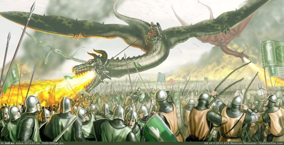 Aegon and his dragon burn the opposing armies of the Rock and the Reach