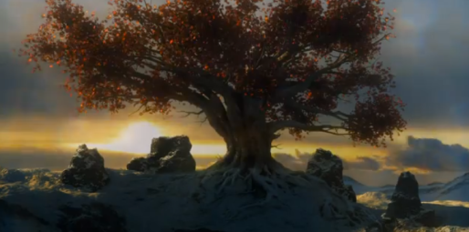 "The weirwood tree in Bran's vision; he hears the words ""Find me, beneath the tree."""