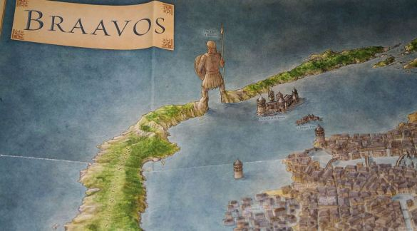 Braavos, located within a lagoon which is protected by the Titan of Braavos