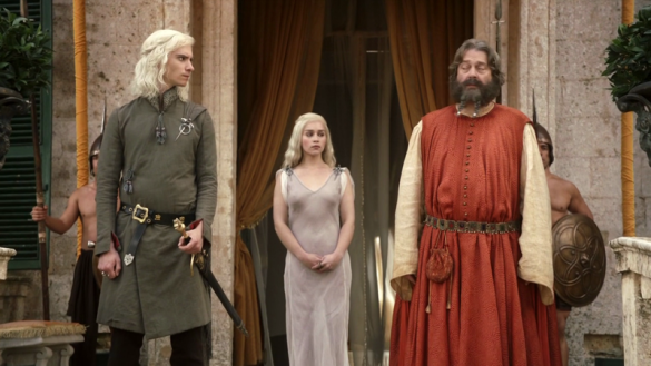 Illyrio, in Pentos, harboring Viserys and Daenerys Targaryen