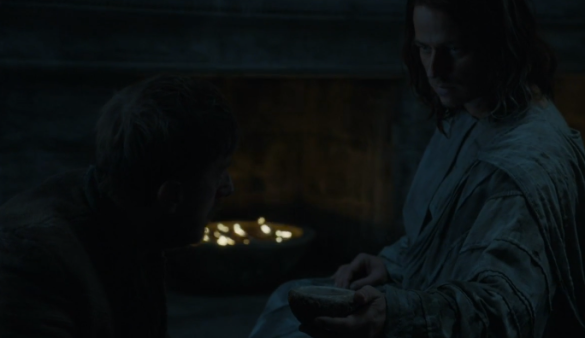 Jaqen, offering a peaceful death from the fountain