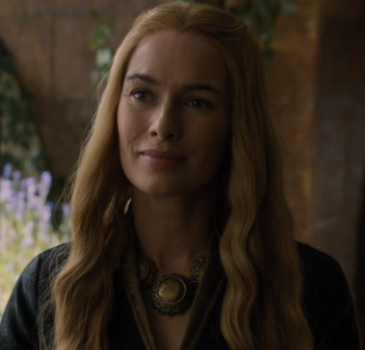 Cercei, having lost much of her power, looking on at Margaery