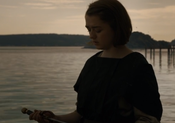 Arya, unable to let go of Needle