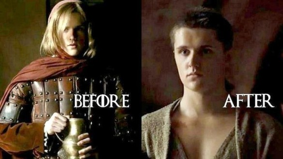 Lancel Lannister, before and after joining the High Sparrow