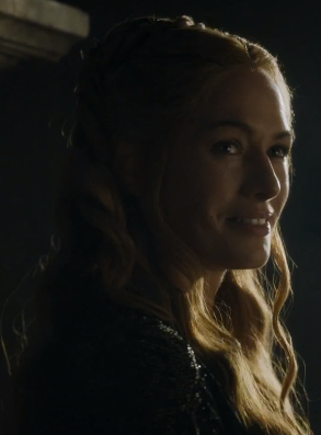 Cercei smirking after sending off Mace Tyrell