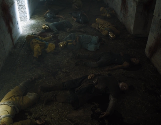 Ser Barristan laying dead next to Grey Worm