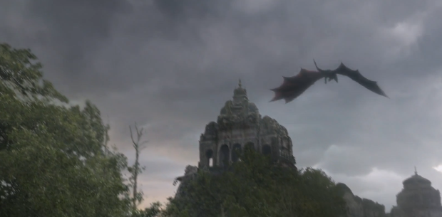 Drogon flies over the Valyrian ruins