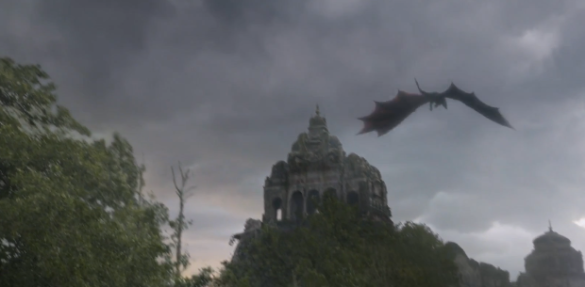 Drogon flies over the Valyrian ruins